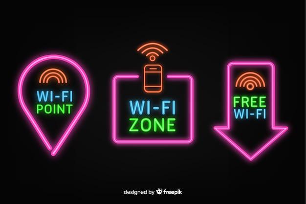 Raccolta di segno di wifi gratuito al neon Vettore gratuito
