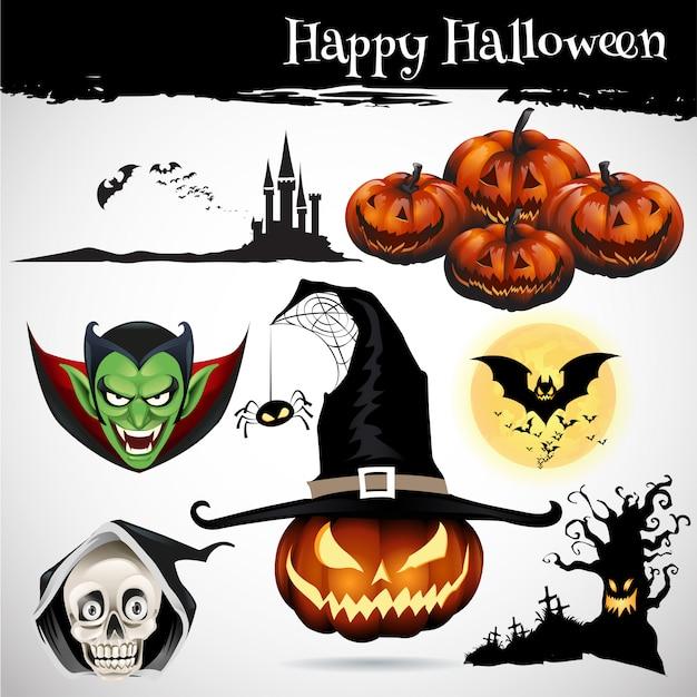 Raccolta di set di icone di halloween Vettore Premium