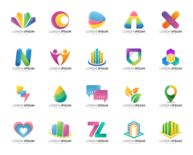 Raccolta di set di modelli di gradiente di logo astratto colorato Vettore Premium