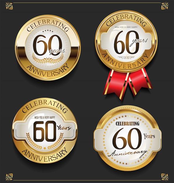 Raccolta di sfondo elegante anniversario d'oro Vettore Premium