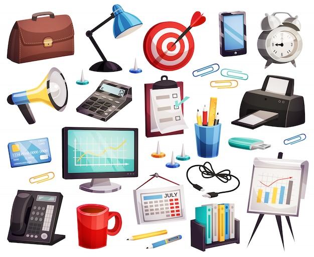 Raccolta di simboli degli accessori dell'ufficio di affari Vettore gratuito