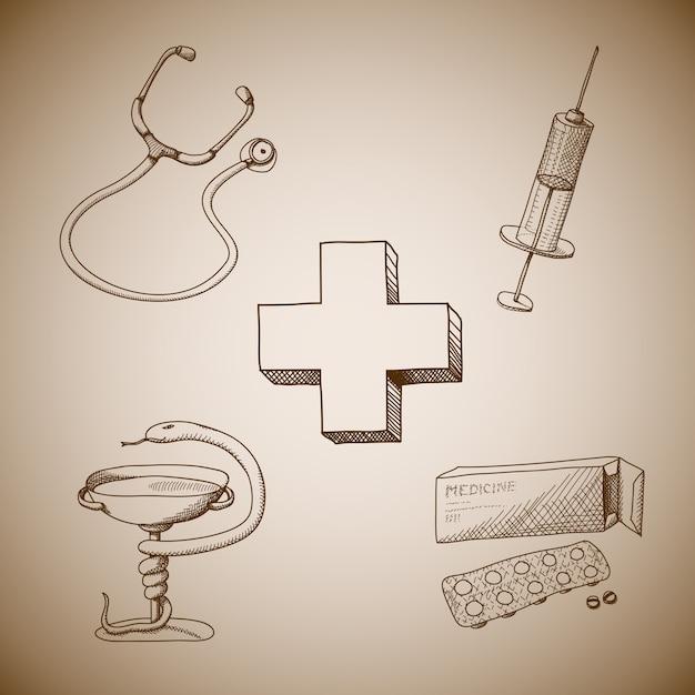 Raccolta di simboli medici Vettore gratuito