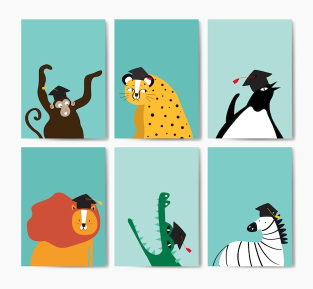 Raccolta di simpatici animali che indossa un cappello di laurea in stile cartone animato vettoriale Vettore gratuito