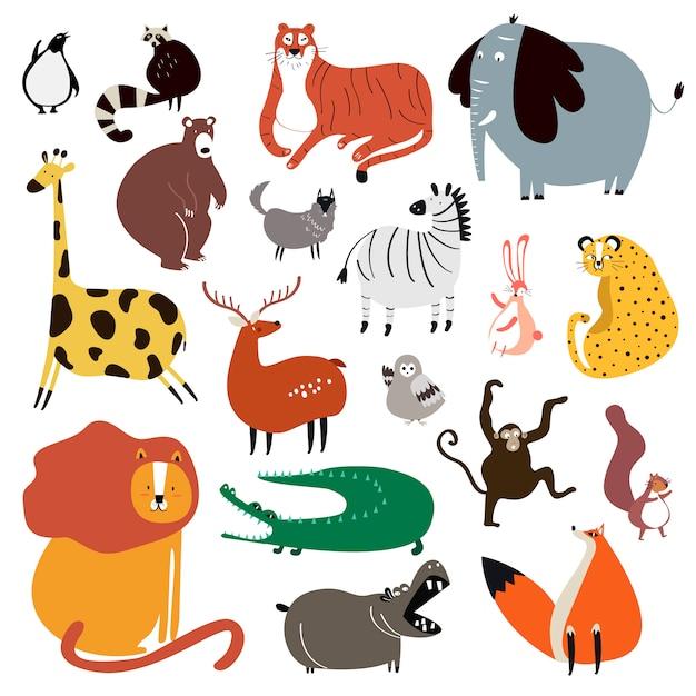Raccolta di simpatici animali selvatici in stile cartone