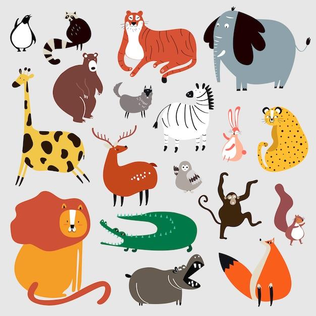 Raccolta di simpatici animali selvatici in stile cartone animato vettoriale Vettore gratuito