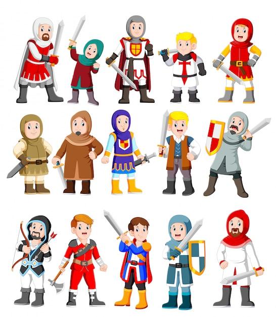 Raccolta di simpatici personaggi dei cartoni animati cavaliere medievale Vettore Premium