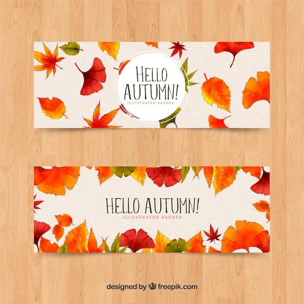 Raccolta di stile dell'acquerello banner autunno Vettore gratuito