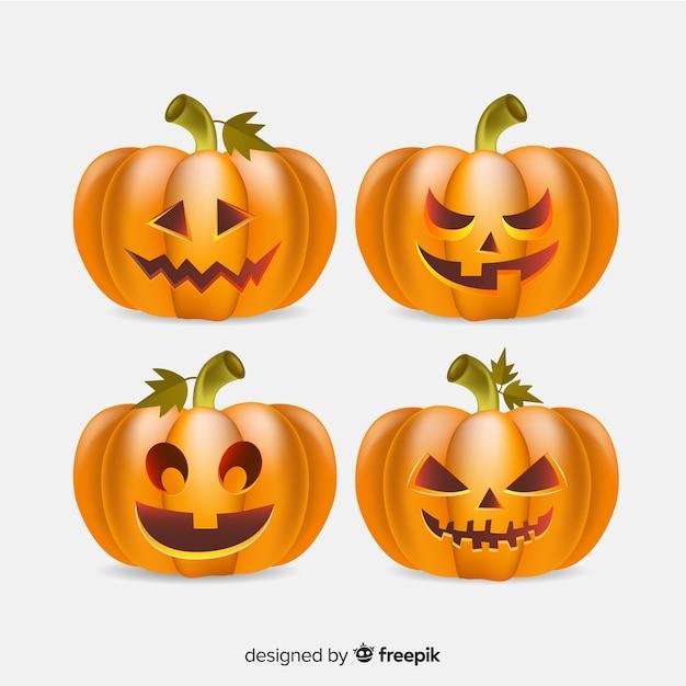 Raccolta di stile realistico di zucca di halloween Vettore gratuito