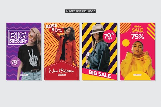Raccolta di storie colorate per la vendita di moda premium vettoriale Vettore Premium