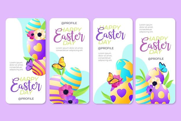 Raccolta di storie di instagram di pasqua con uova colorate Vettore gratuito