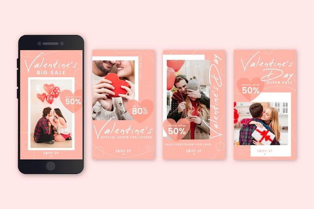 Raccolta di storie di vendita di san valentino Vettore gratuito