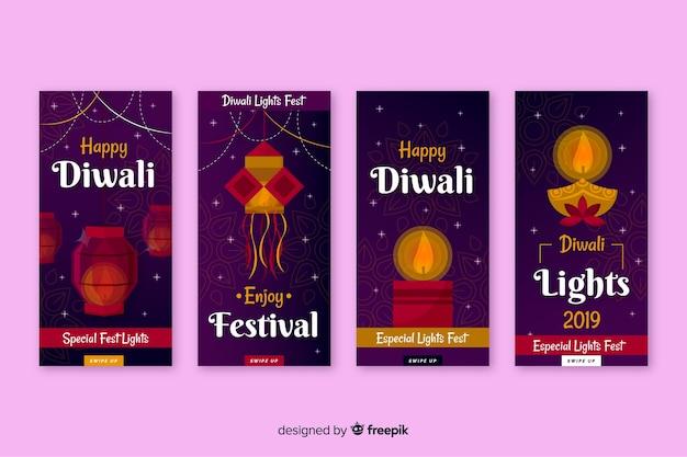 Raccolta di storie instagram diwali Vettore gratuito
