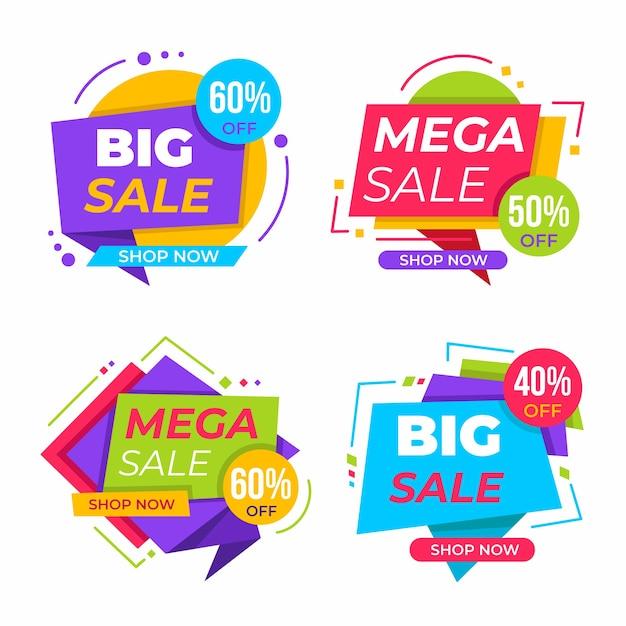 Raccolta di striscioni colorati di vendita Vettore gratuito
