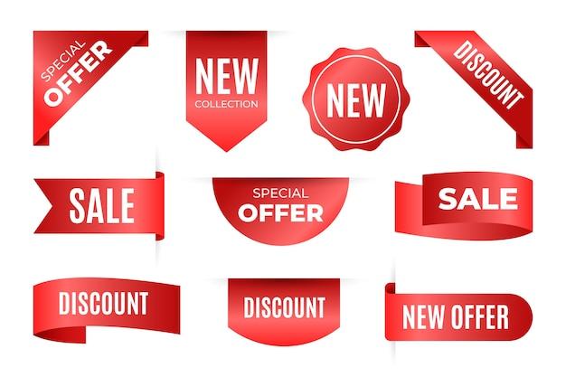 Raccolta di tag di vendita realistici con testo Vettore gratuito
