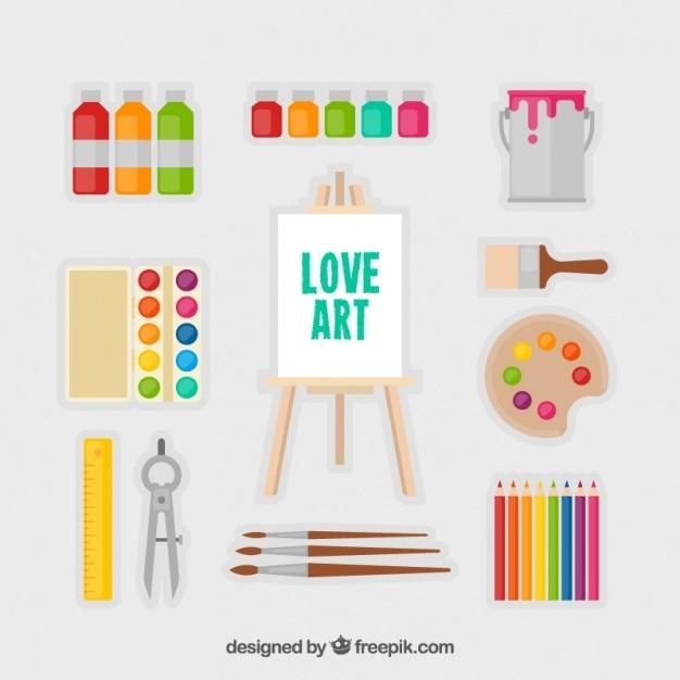 Raccolta di tela con elementi artistici di design piatto for Elementi di design