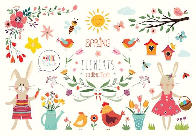 Raccolta di tempo di primavera con elementi decorativi disegnati a mano e composizioni floreali, disegno vettoriale Vettore Premium