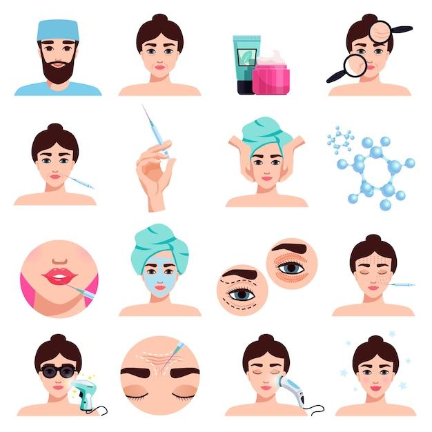 Raccolta di trattamenti cosmetici di ringiovanimento del viso con applicazione di maschera, procedure di riempimento delle labbra delle iniezioni di botox isolate Vettore gratuito