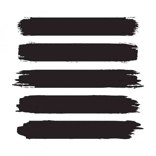 Raccolta di tratti di pennello nero astratto disegnato a mano. set di forme, cornici isolate su bianco Vettore Premium