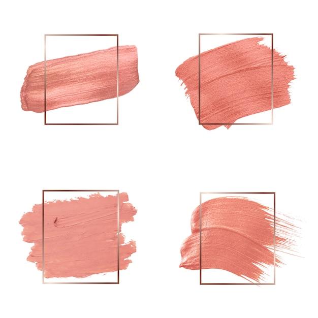 Raccolta di tratti di pennello rosa Vettore gratuito