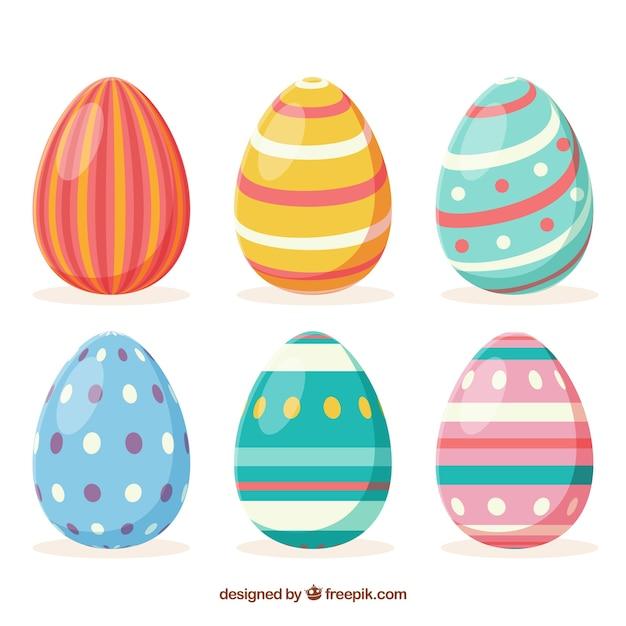 Raccolta di uova di giorno di pasqua in stile piano Vettore gratuito