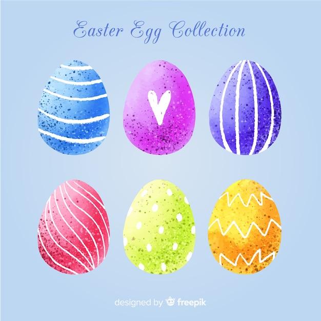 Raccolta di uova di pasqua giorno dell'acquerello Vettore gratuito