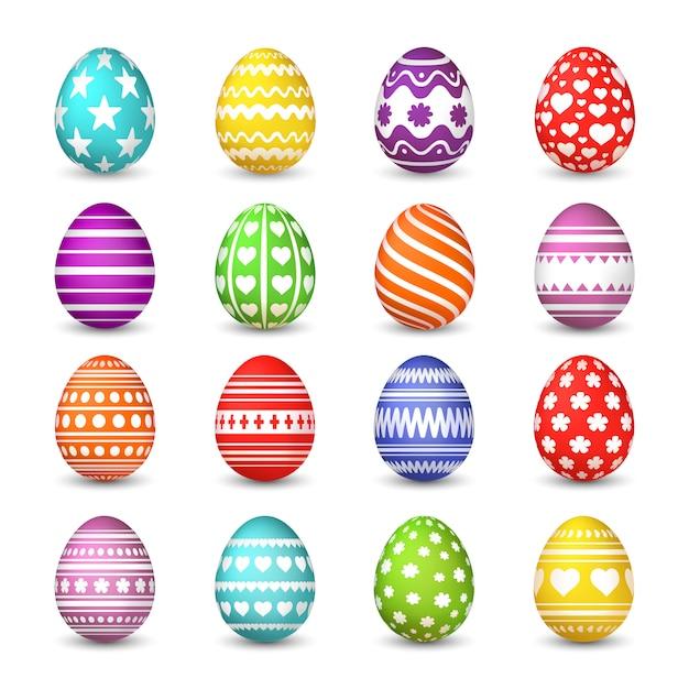 Raccolta di uova di pasqua. uovo felice di celebrazione di pasqua di tradizione cristiana di resurrezione con il modello variopinto isolato Vettore Premium