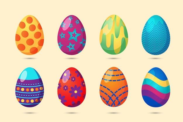 Raccolta di uova di pasqua Vettore gratuito