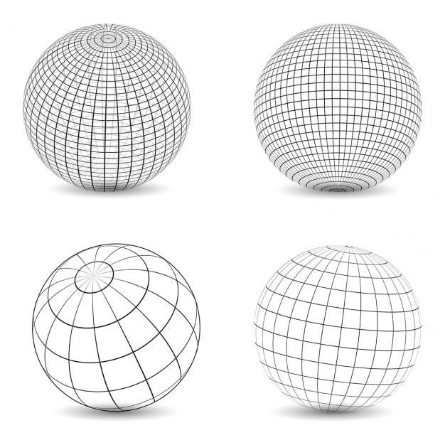 Raccolta di vari disegni di globi wireframe Vettore gratuito