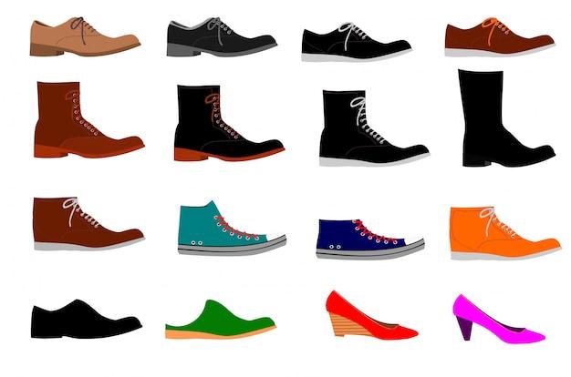 Raccolta di vari tipi di scarpe su sfondo bianco Vettore Premium