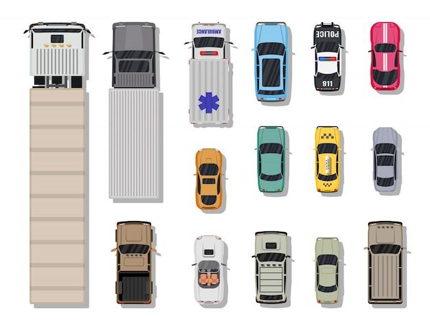 Raccolta di vari veicoli. vista dall'alto. Vettore Premium