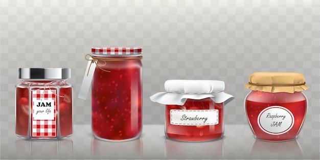 Raccolta di vasi di vetro vettore con marmellata in uno stile realistico Vettore gratuito