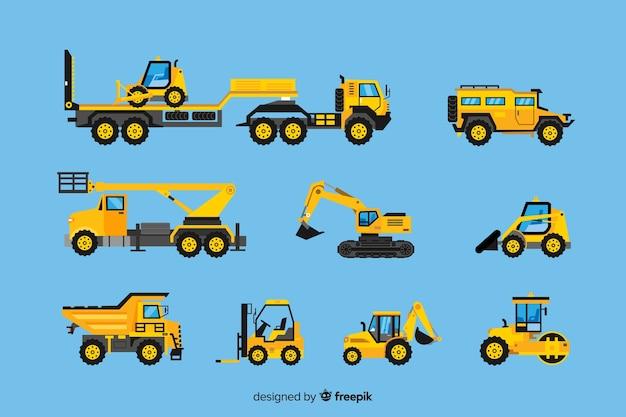 Raccolta di veicoli da costruzione Vettore gratuito