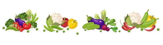 Raccolta di verdure fresche di fattoria Vettore Premium
