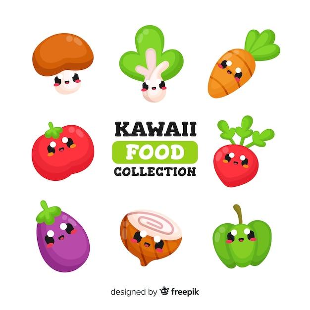 Raccolta di verdure kawaii Vettore gratuito