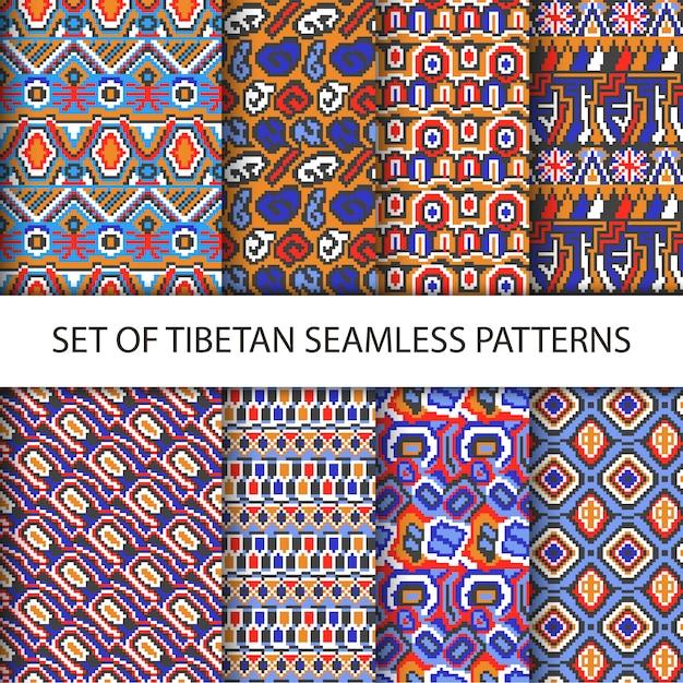 Raccolta di vettore colorato di pixel senza soluzione di modelli con il tibet ornamento etnico Vettore gratuito