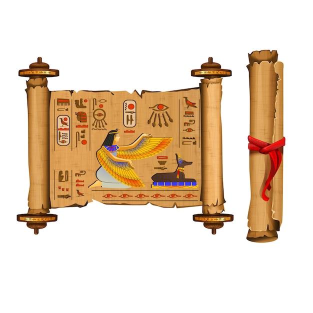 Raccolta di vettore del fumetto del rotolo del papiro dell'antico egitto con i geroglifici e la cultura egiziana Vettore gratuito