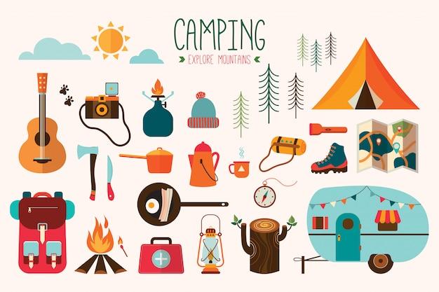 Raccolta di vettore dell'attrezzatura di campeggio Vettore Premium