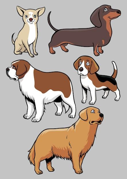 Raccolta di vettore di cani Vettore Premium