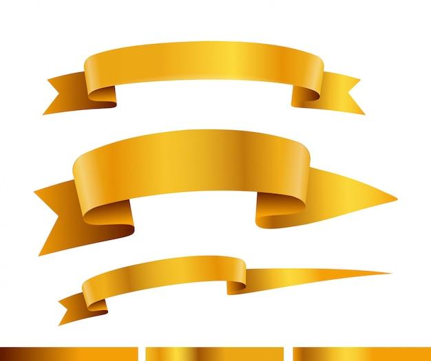 Raccolta di vettore di nastri d'oro. modello per un testo collezione di bandiere isolato su bianco Vettore Premium