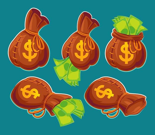 Raccolta di vettore sacchetti di cartone animato con banconote Vettore gratuito