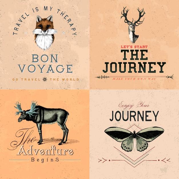 Raccolta di vettori di design logo avventura Vettore gratuito
