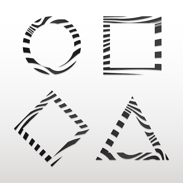 Raccolta di vettori di distintivo astratto bianco e nero Vettore gratuito