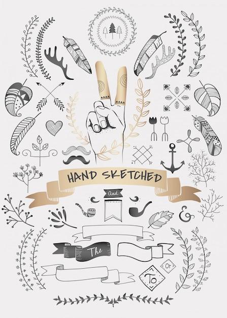 Raccolta di vettori di elemento boho doodle disegnato a mano Vettore gratuito