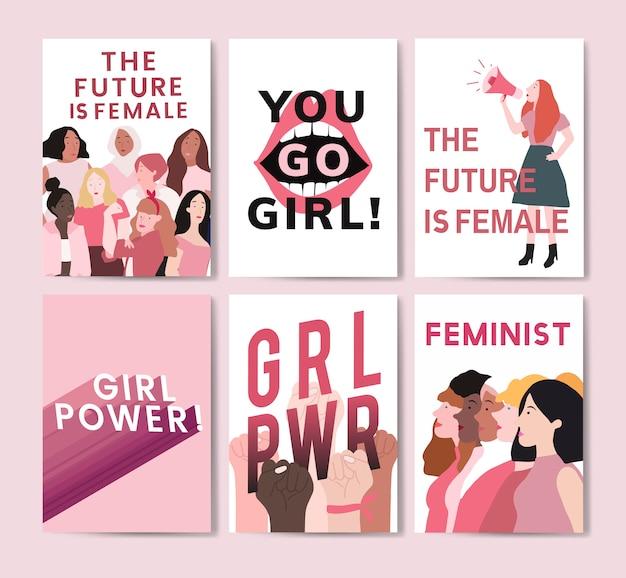 Raccolta di vettori di poster messaggio femminista Vettore gratuito