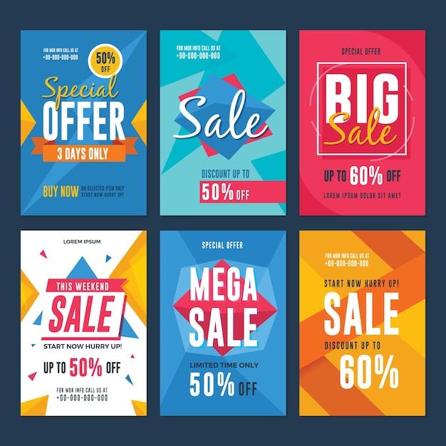 Raccolta di volantini di vendita e sconto Vettore Premium