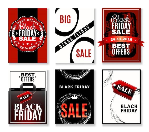 Raccolta di volantini vendita venerdì nero Vettore gratuito