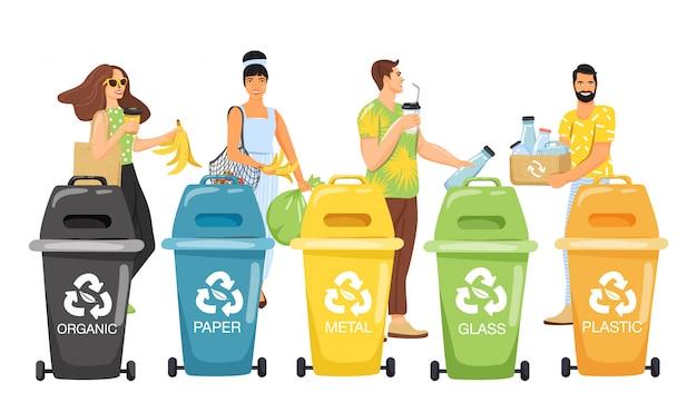 Raccolta differenziata . le persone smistano i rifiuti in contenitori per il riciclaggio. Vettore Premium