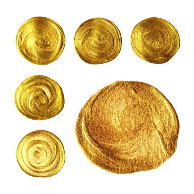 Raccolta dipinta a mano della spazzola del cerchio dell'oro isolata su fondo bianco Vettore Premium