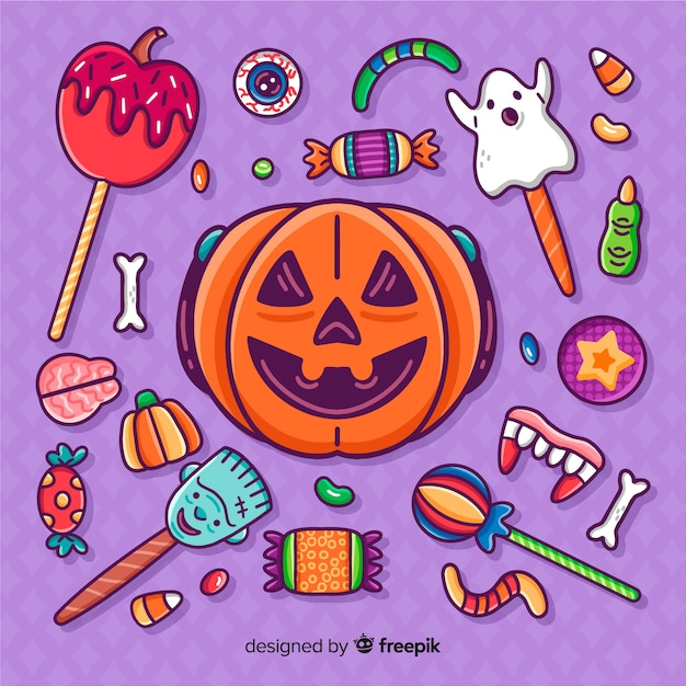 Raccolta disegnata a mano degli autoadesivi della caramella di halloween del primo piano Vettore gratuito