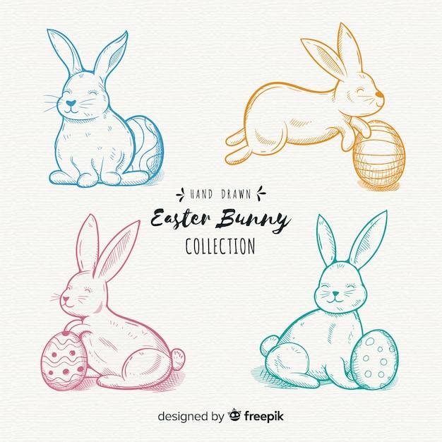Raccolta disegnata a mano del coniglietto di pasqua Vettore gratuito